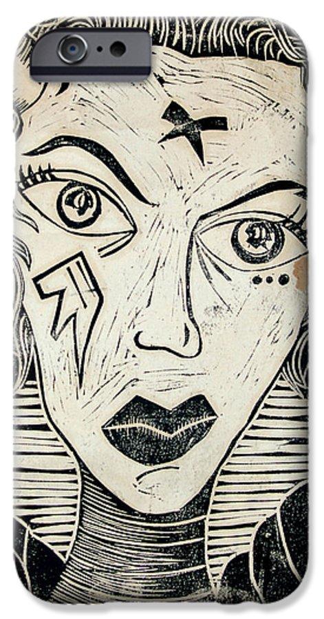Block Print IPhone 6 Case featuring the print Original Devil Block Print by Thomas Valentine