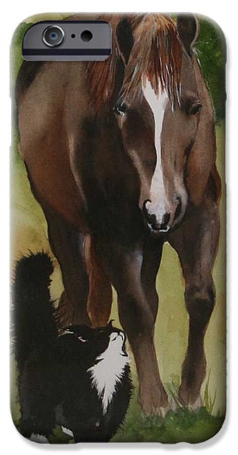 Horse IPhone 6 Case featuring the painting Oscar And Friend by Jean Blackmer