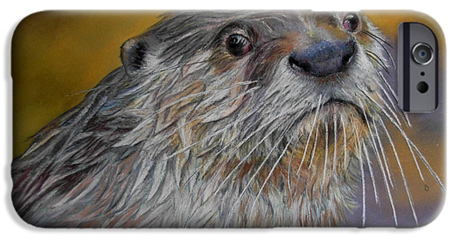 River Otter IPhone 6 Case featuring the painting Otter Or Not by Ceci Watson