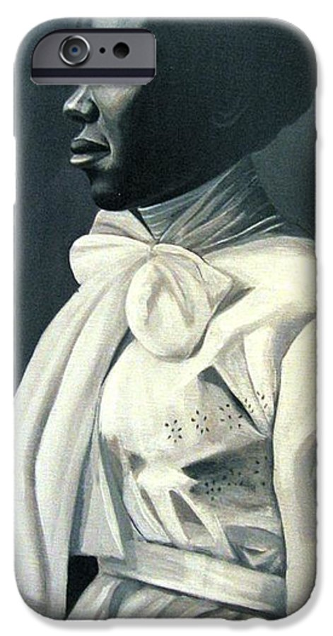 Portrait IPhone 6 Case featuring the painting Out Of The Box Woman In Large White Bow by Joyce Owens