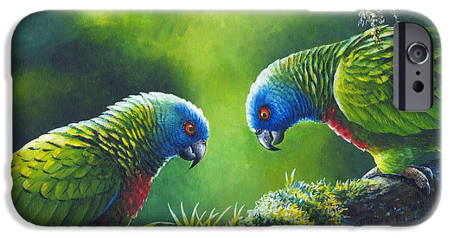 Chris Cox IPhone 6 Case featuring the painting Out On A Limb - St. Lucia Parrots by Christopher Cox