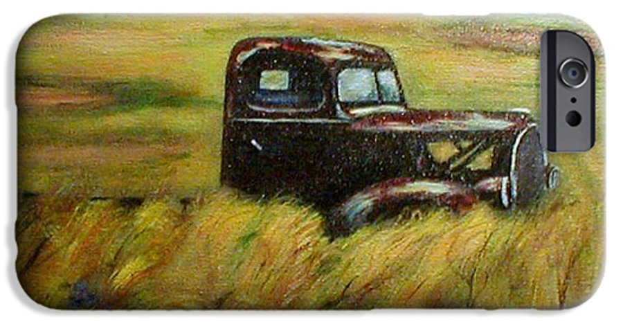 Vintage Truck IPhone 6 Case featuring the painting Out To Pasture by Gail Kirtz