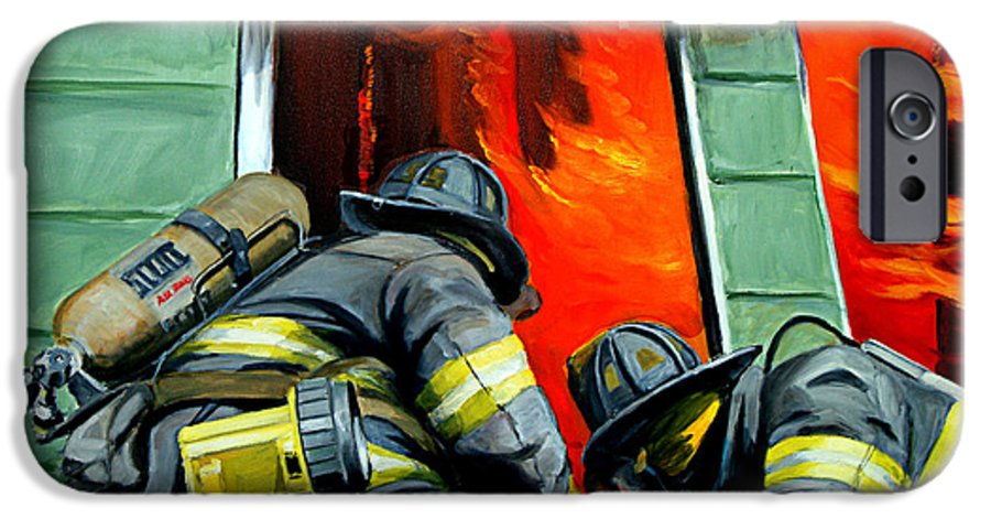 Firefighting IPhone 6 Case featuring the painting Outside Roof by Paul Walsh