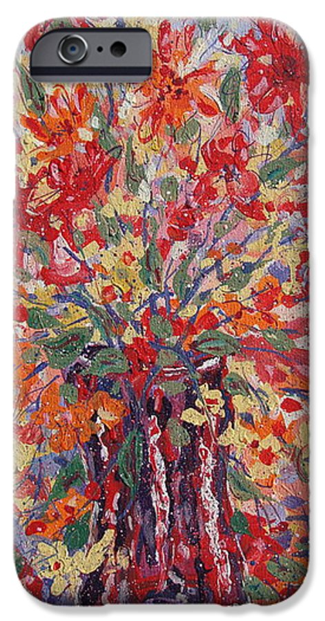 Painting IPhone 6 Case featuring the painting Overflowing Flowers. by Leonard Holland