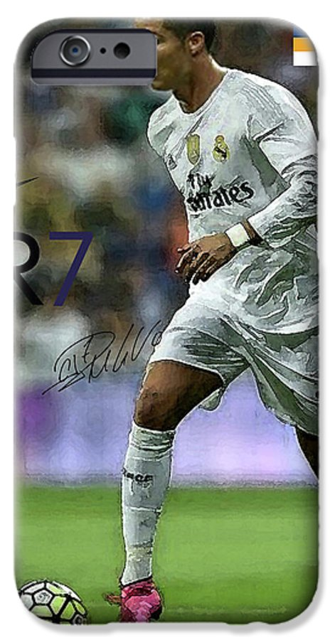 Mixed Media Painting Signed Cristiano Ronaldo Real Madrid Cr 7 Iphone 6 Case