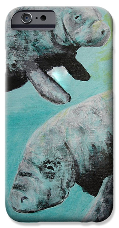 Florida IPhone 6 Case featuring the painting Pair Of Florida Manatees by Susan Kubes