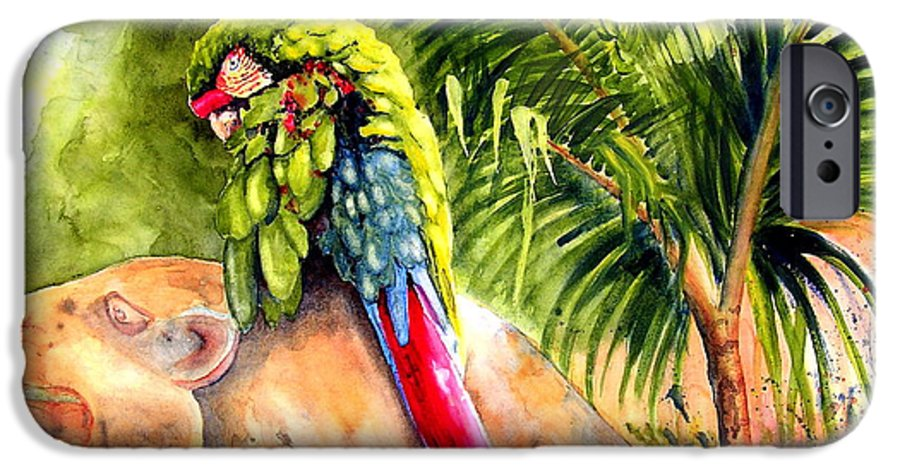 Parrot IPhone 6 Case featuring the painting Pajaro by Karen Stark