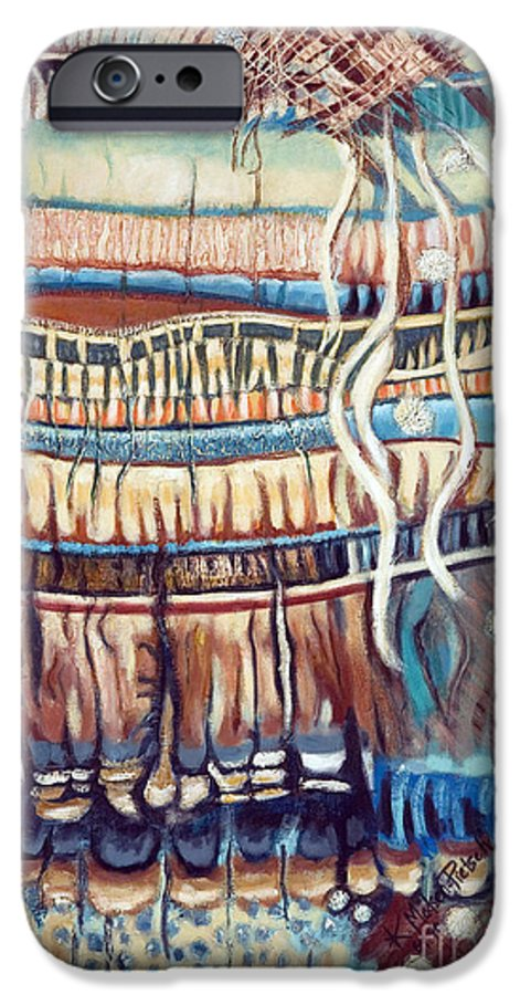 Abstract IPhone 6 Case featuring the painting Palm Contractions by Kerryn Madsen-Pietsch