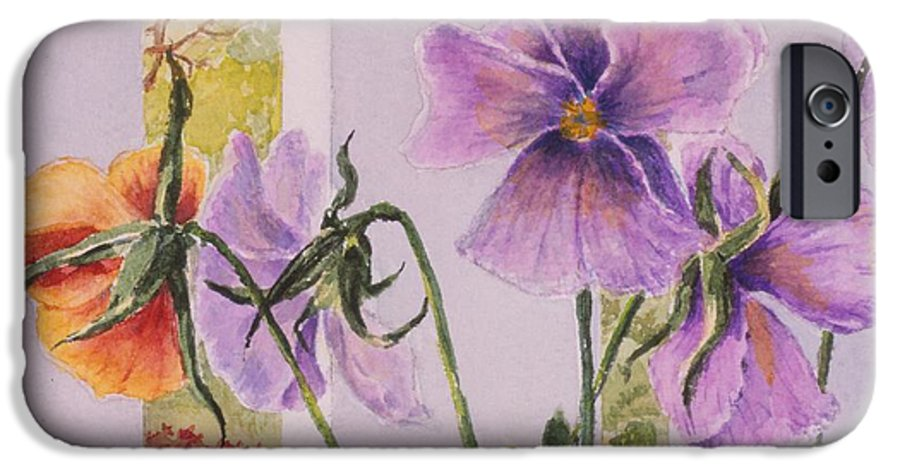 Florals IPhone 6 Case featuring the painting Pansies On My Porch by Mary Ellen Mueller Legault