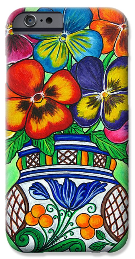 Flower IPhone 6 Case featuring the painting Pansy Parade by Lisa Lorenz
