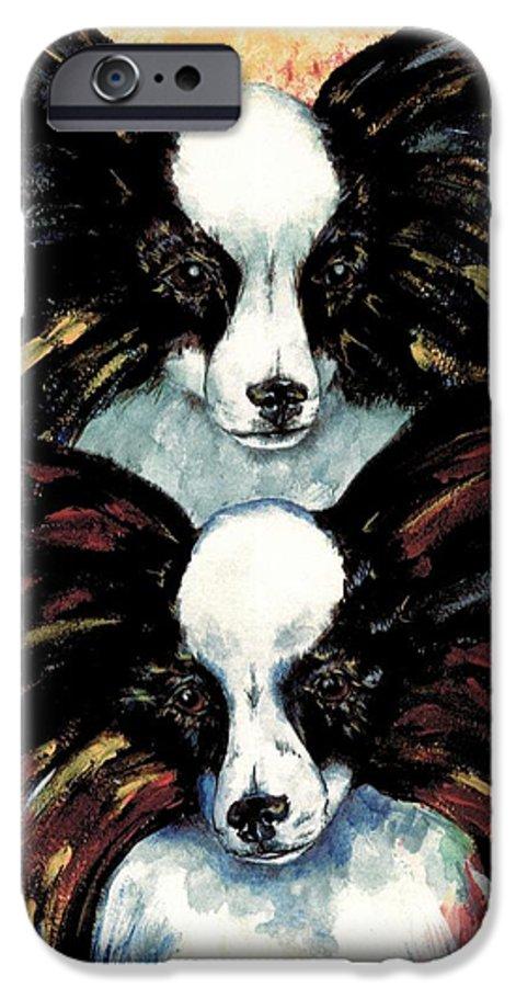 Papillon IPhone 6 Case featuring the painting Papillon De Mardi Gras by Kathleen Sepulveda