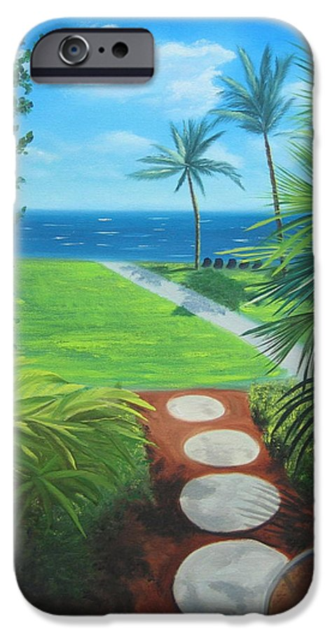 Seascape IPhone 6 Case featuring the painting Paradise Beckons by Lea Novak