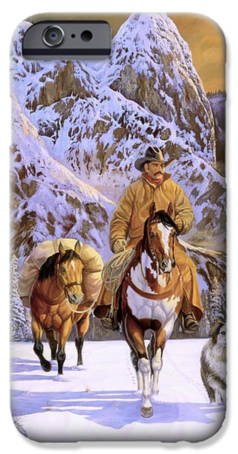 Cowboy IPhone 6 Case featuring the painting Pardners by Howard Dubois