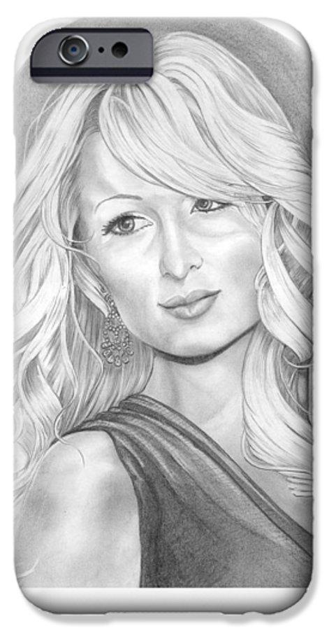 Portrait IPhone 6 Case featuring the drawing Paris Hilton by Murphy Elliott