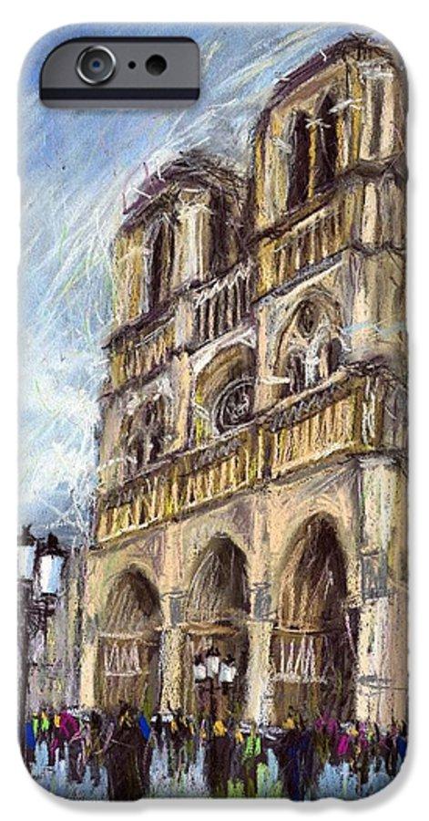 Cityscape IPhone 6 Case featuring the pastel Paris Notre-dame De Paris by Yuriy Shevchuk
