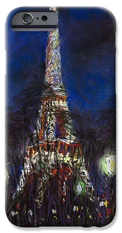 Pastel IPhone 6 Case featuring the painting Paris Tour Eiffel by Yuriy Shevchuk
