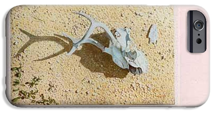 Hyperrealism IPhone 6 Case featuring the painting Partially Buried Frog Fruit by Michael Earney