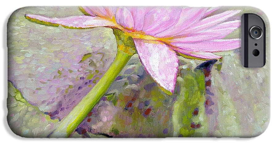 Water Lily IPhone 6 Case featuring the painting Pastel Beauty by John Lautermilch