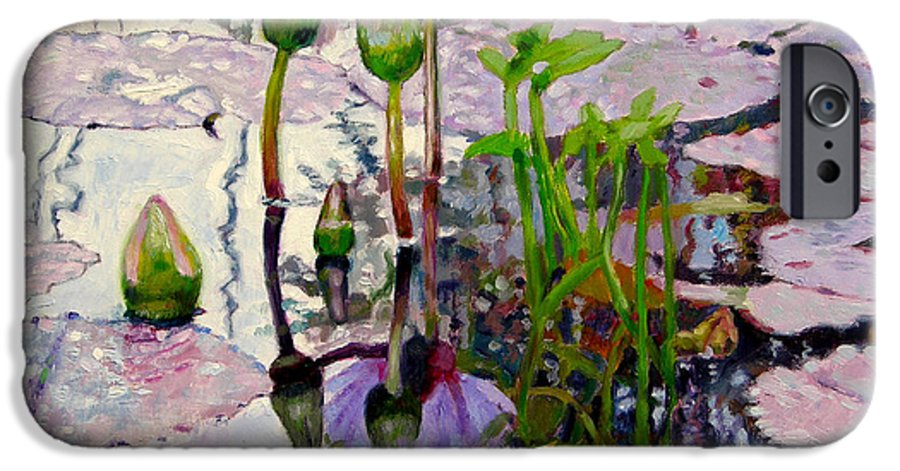 Water Lily Pond IPhone 6 Case featuring the painting Pastel Light by John Lautermilch