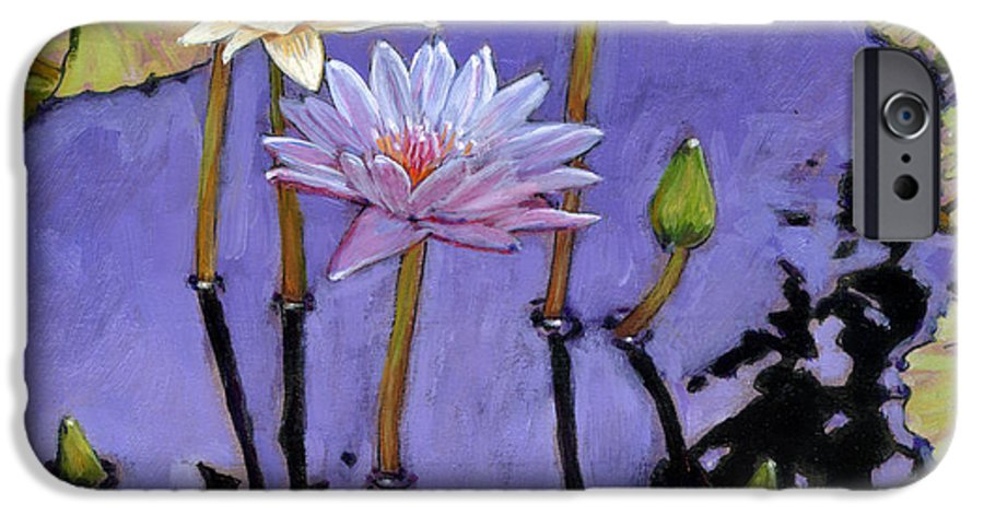 Water Lilies IPhone 6 Case featuring the painting Pastel Petals by John Lautermilch