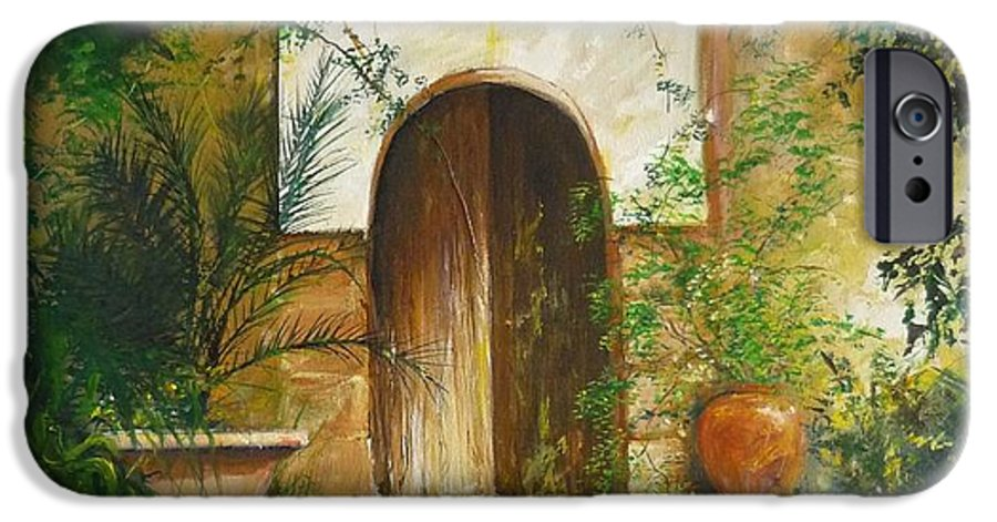 Farmhouse Courtyard IPhone 6 Case featuring the painting Patio Mallorquin by Lizzy Forrester