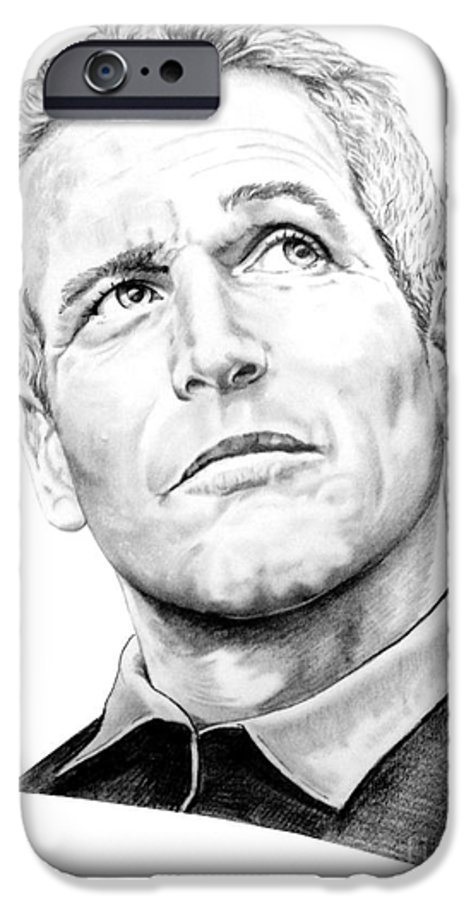 Paul Newman IPhone 6 Case featuring the drawing Paul Newman by Murphy Elliott
