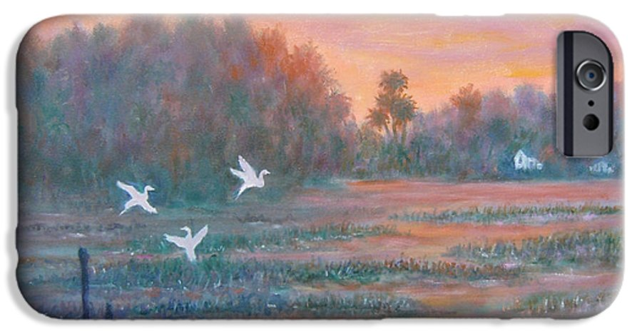 Low Country; Egrets; Sunset IPhone 6 Case featuring the painting Pawleys Island by Ben Kiger