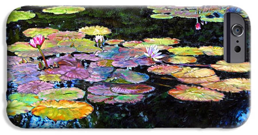 Water Lilies IPhone 6 Case featuring the painting Peace Among The Lilies by John Lautermilch