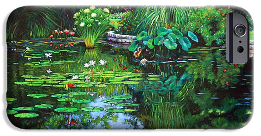 Landscape IPhone 6 Case featuring the painting Peace Floods My Soul by John Lautermilch