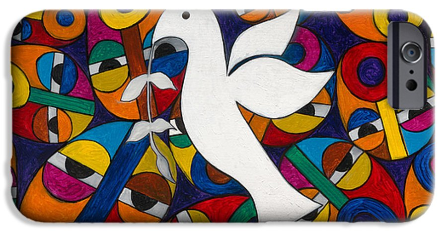Dove IPhone 6 Case featuring the painting Peace On Earth by Emeka Okoro