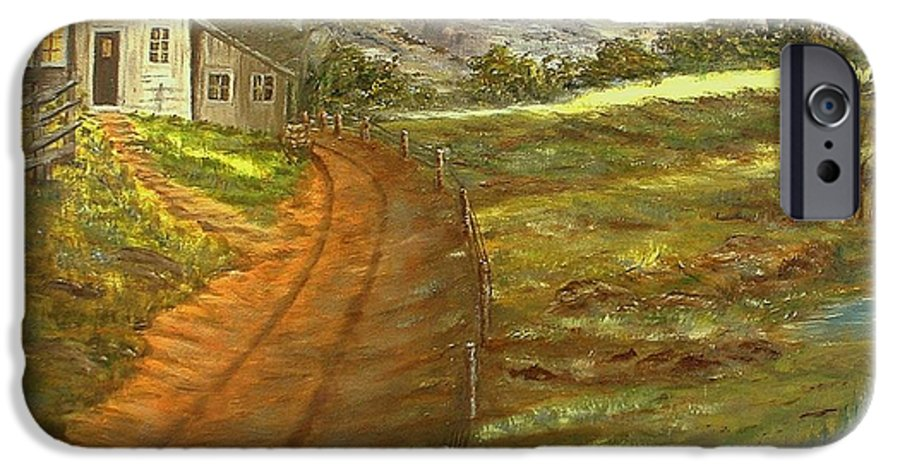 Landscape IPhone 6 Case featuring the painting Peaceful Country by Kenneth LePoidevin