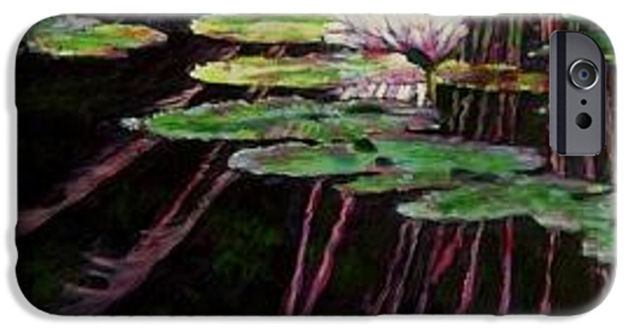 Quiet Pond With Water Lily And Reflections. Missouri Botanical Garden IPhone 6 Case featuring the painting Peaceful Reflections by John Lautermilch