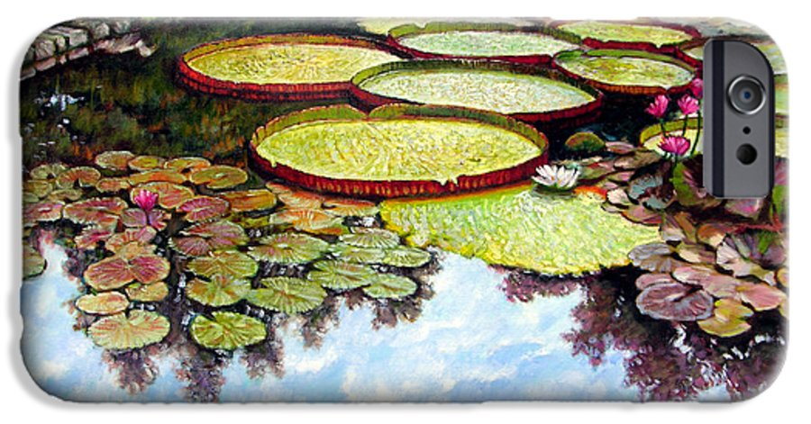 Landscape IPhone 6 Case featuring the painting Peaceful Refuge by John Lautermilch