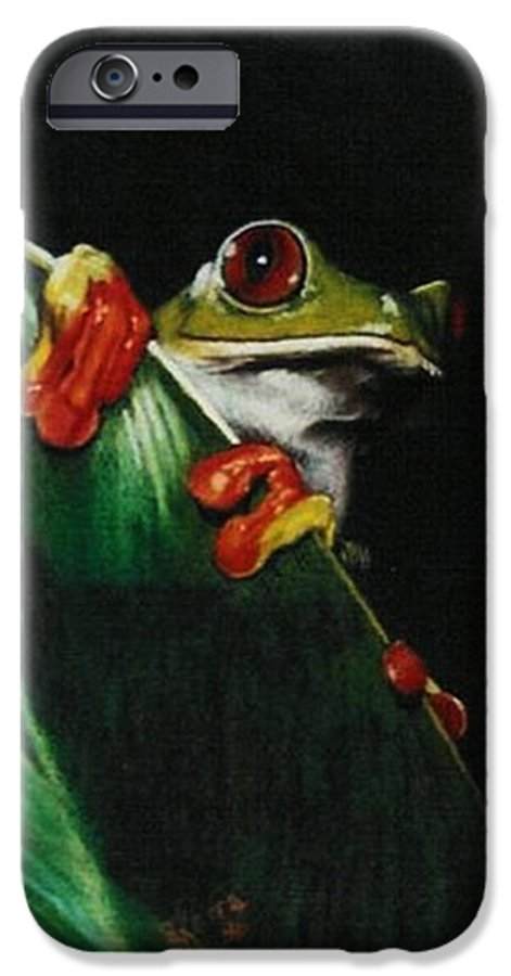 Frog IPhone 6 Case featuring the drawing Peek-a-boo by Barbara Keith
