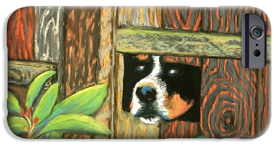 Dog IPhone 6 Case featuring the painting Peek-a-boo Fence by Minaz Jantz