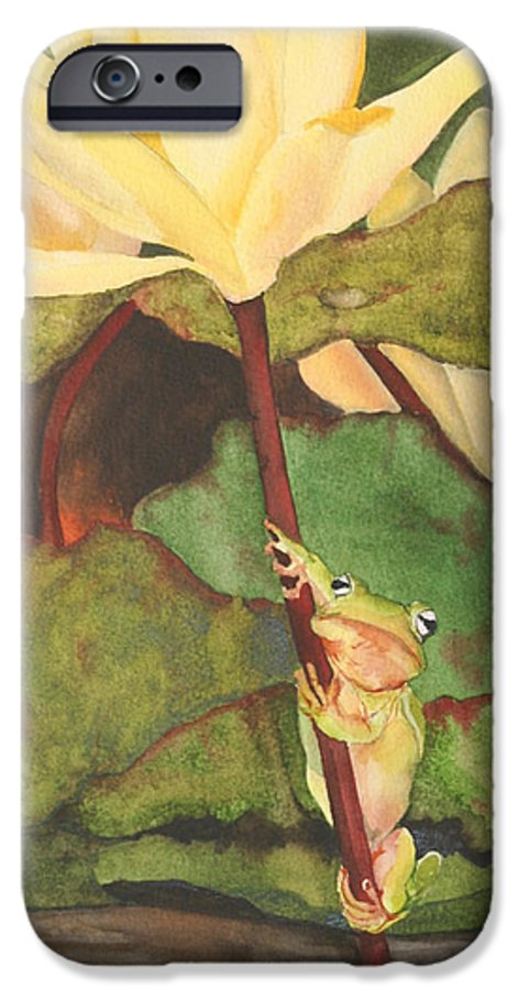 Frog IPhone 6 Case featuring the painting Peeping Tom by Jean Blackmer