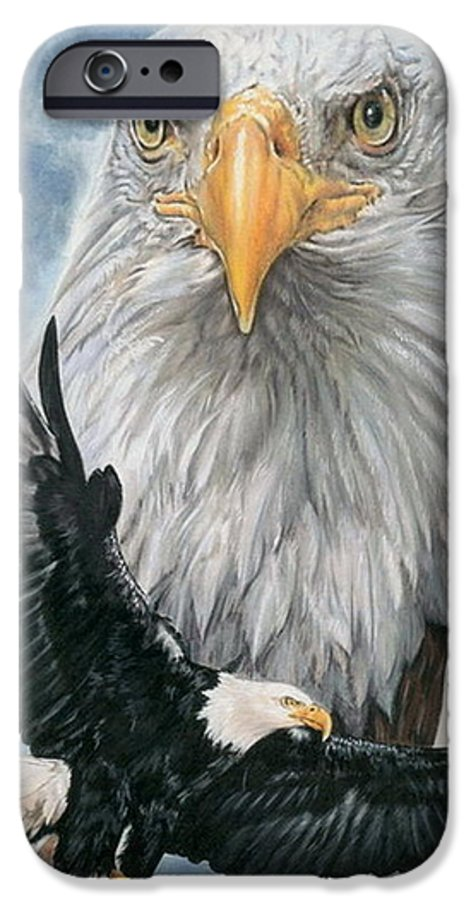 Bald Eagle IPhone 6 Case featuring the mixed media Peerless by Barbara Keith