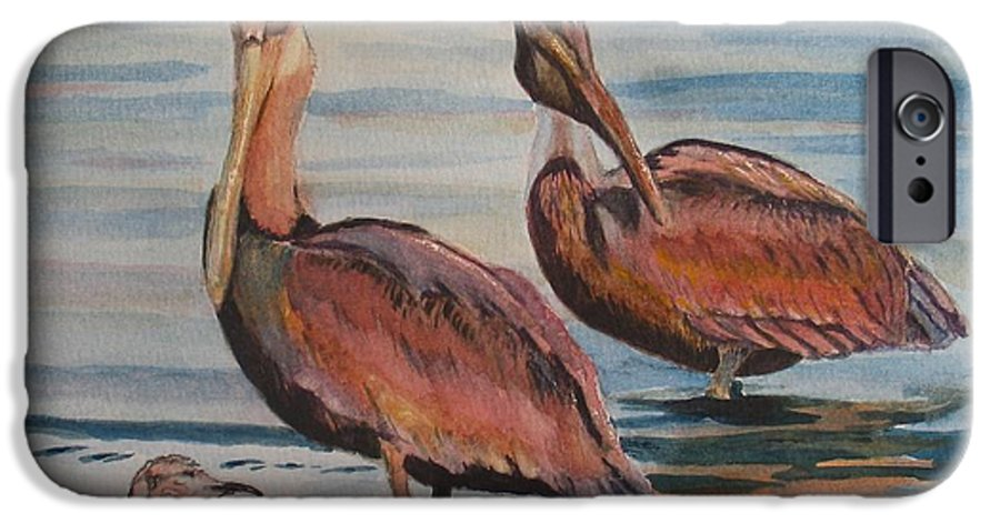 Pelicans IPhone 6 Case featuring the painting Pelican Party by Karen Ilari