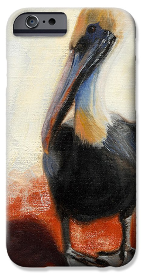 Pelican IPhone 6 Case featuring the painting Pelican Study by Greg Neal