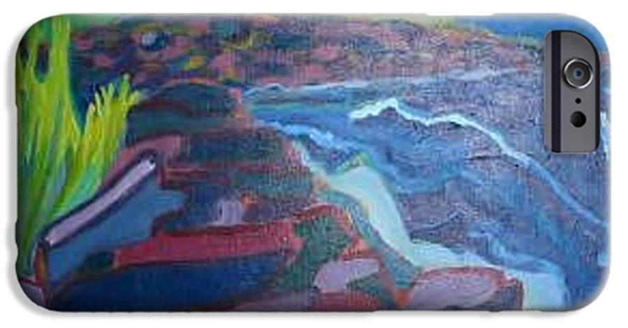 Ocean IPhone 6 Case featuring the painting Pemaquid Cliffs by Debra Bretton Robinson