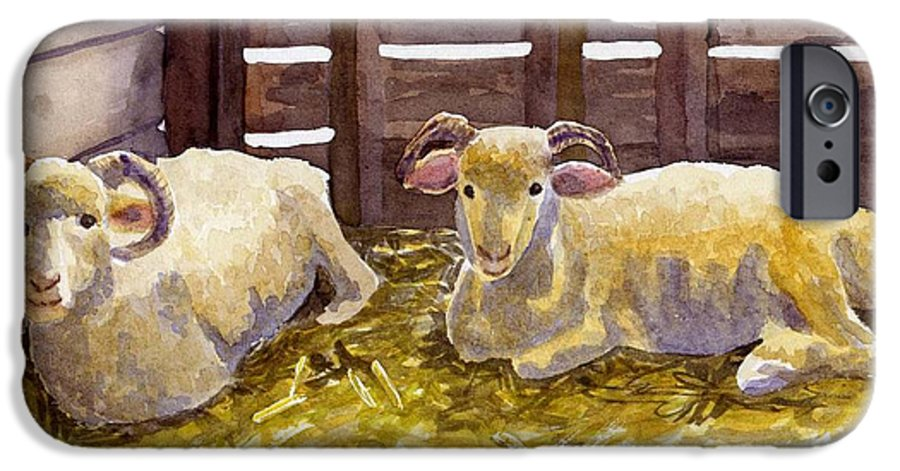 Sheep IPhone 6 Case featuring the painting Pen Pals by Sharon E Allen
