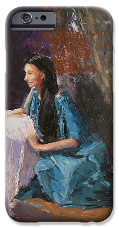 Sitting Woman IPhone 6 Case featuring the painting Penelope by Irena Jablonski