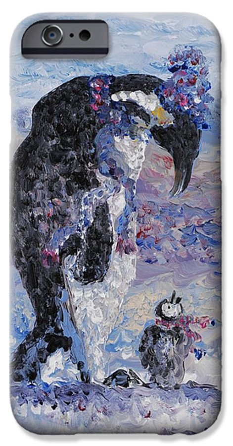 Penguins Winter Snow Blue Purple White IPhone 6 Case featuring the painting Penguin Love by Nadine Rippelmeyer