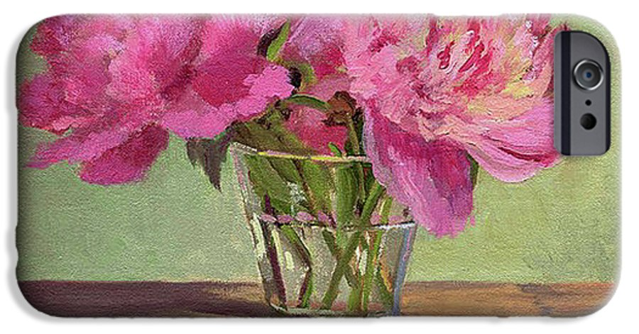 Still IPhone 6 Case featuring the painting Peonies In Tumbler by Keith Burgess