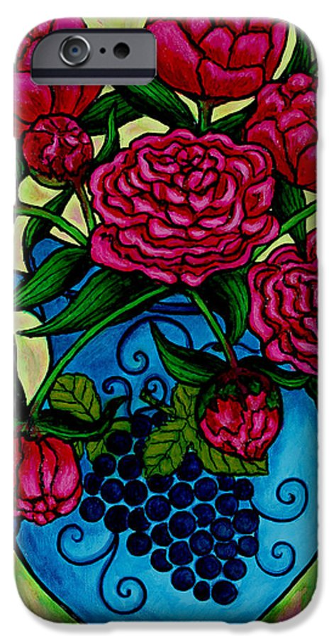 Peonies IPhone 6 Case featuring the painting Peony Party by Lisa Lorenz