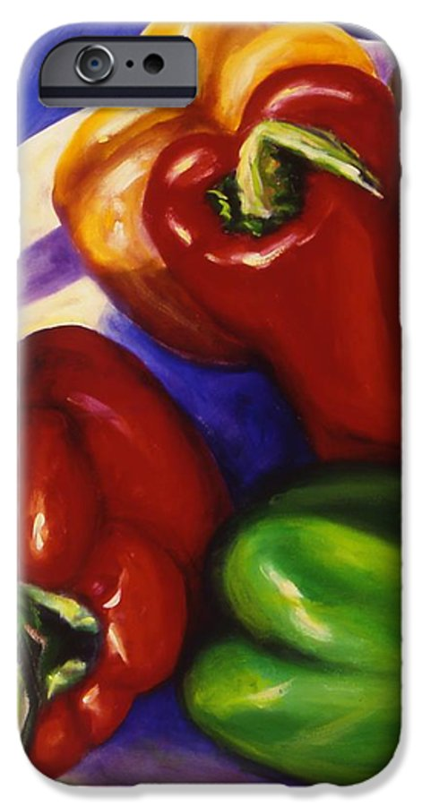 Still Life Peppers IPhone 6 Case featuring the painting Peppers In The Round by Shannon Grissom