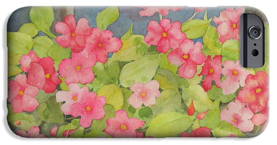Flowers IPhone 6 Case featuring the painting Perky by Mary Ellen Mueller Legault