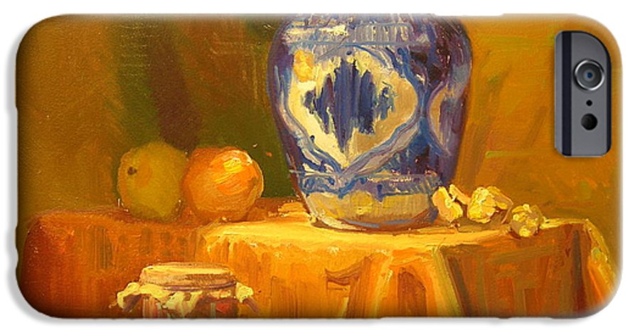 Still Life IPhone 6 Case featuring the painting Persian Vase And Fruit Jar by David Dozier