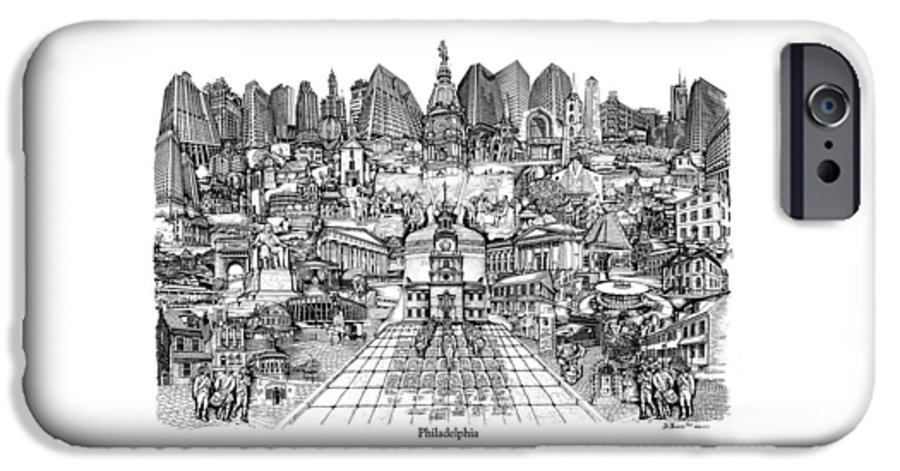 City Drawing IPhone 6 Case featuring the drawing Philadelphia by Dennis Bivens