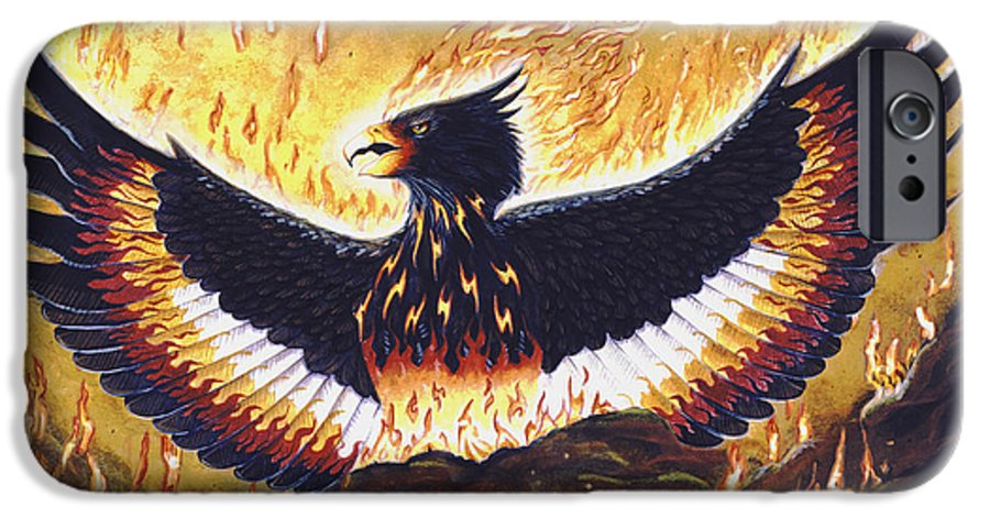 Phoenix IPhone 6 Case featuring the painting Phoenix Rising by Melissa A Benson